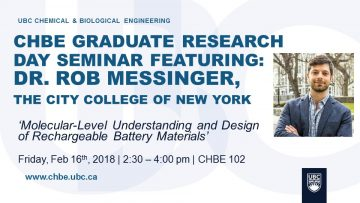 RESEARCH DAY SEMINAR – February 16th – 2:30 pm – CHBE 102