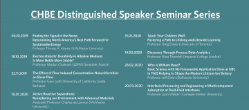 CHBE Distinguished Speaker Seminar Series