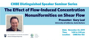 Distinguished Speaker Seminar – Professor Gary Leal