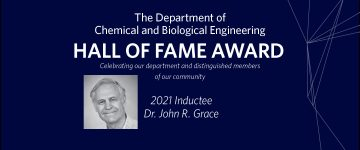 Dr John Grace Inducted in the CHBE Hall of Fame